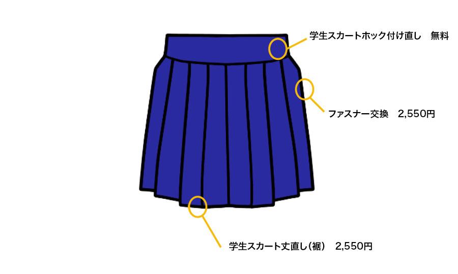 洋服のお直し、リフォーム 学生スカート修理